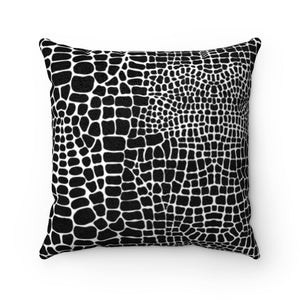 BLACK & WHITE ALLIGATOR PRINT- Faux Suede Pillow