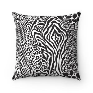 AFRICAN ANIMAL PRINTS- Faux Suede Square Pillow