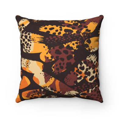 LEOPARDS DEN- Faux Suede Square Pillow