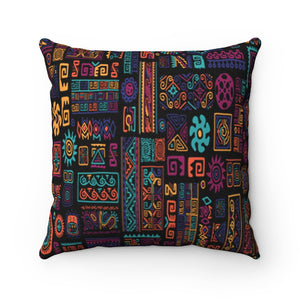 """COLORFUL AFRICAN PATTERNS"" Spun Polyester Square Pillow"