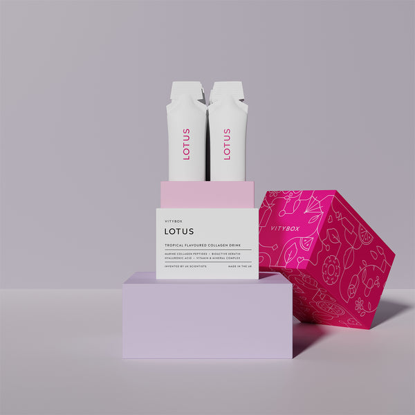 open box of lotus by vitybox a marine collagen supplement drink with keratin and hyaluronic acid