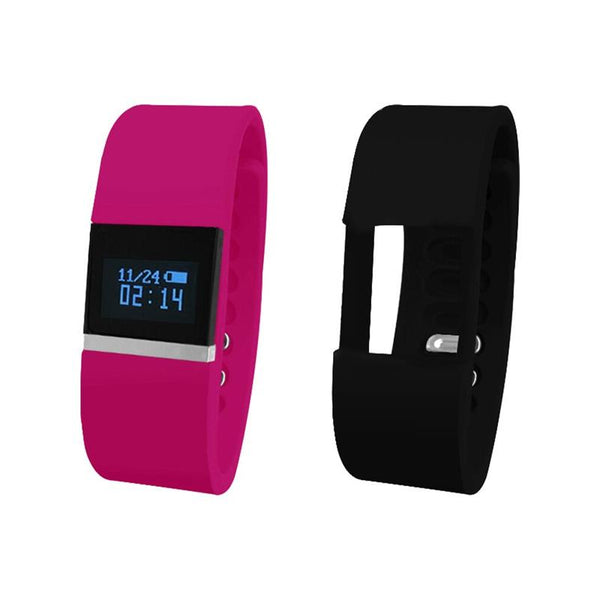iTouch Wearables Bluetooth¨ Interchangeable Strap Fitness Tracker - (Pink and Black)