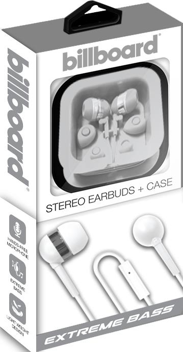 Billboard Wired Stereo Earbuds With Mic & Matching Case