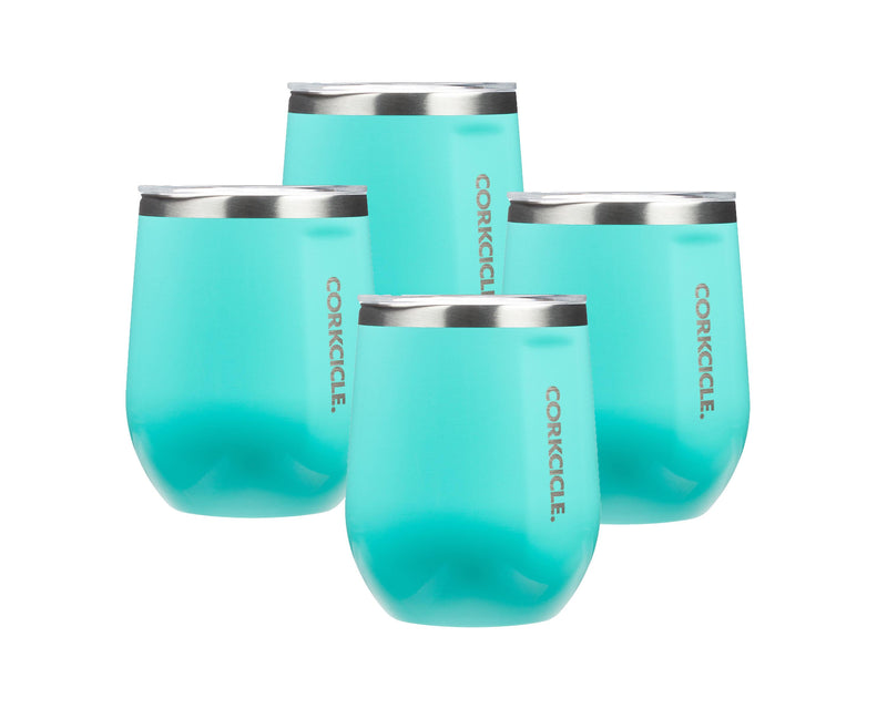 12oz Stemless Wine Cup - Turquoise, 4 Pack