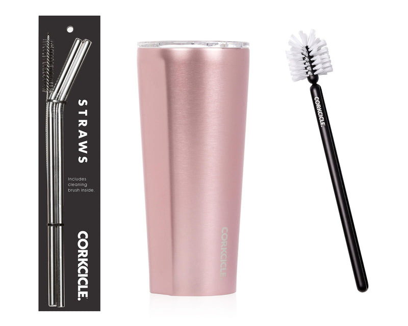 24oz Tumbler w/Bottle Brush & Stainless Steel Tumbler Straws - Rose Metallic