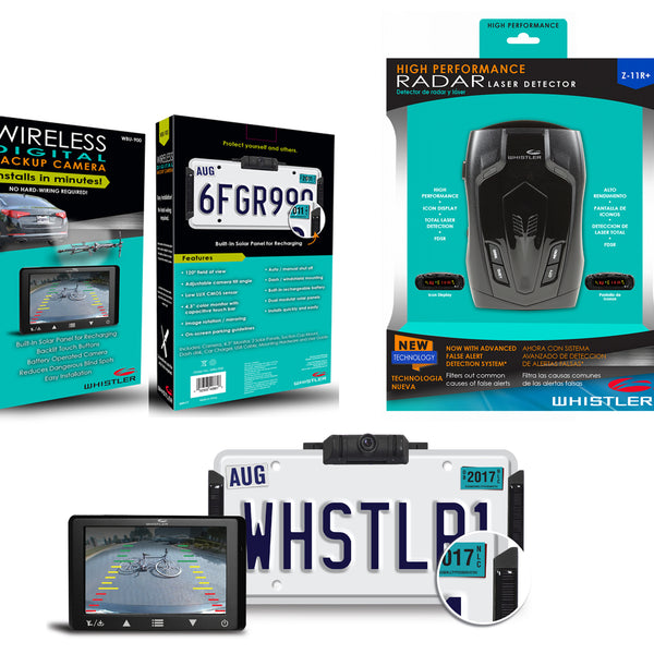 Whistler Backup Camera and Radar Detector Package