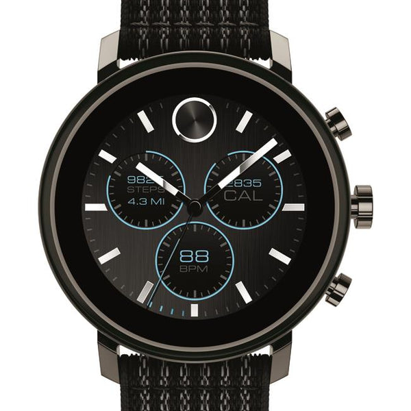 Movado Connect 2.0 Smartwatch, Unisex. Gunmetal IP Stainless Steel Case, Black Fabric sport strap.