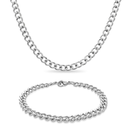 Gents Curb Link Bracelet & Necklace Set