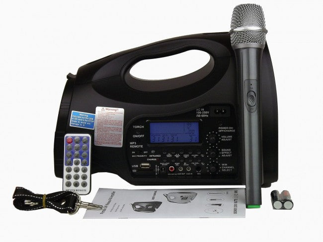 Hisonic Rechargeable Portable PA System, 100-Channel UHF, Wireless Mic, Music Player with Voice Recorder