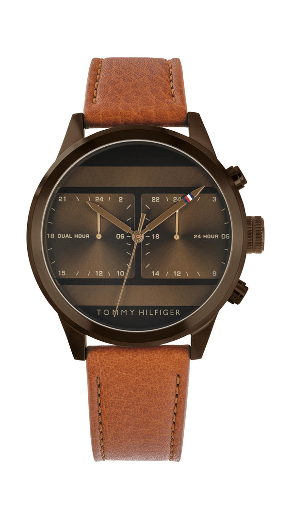 Tommy Hilfiger Gents, Brown IP Case, Light Brown Leather Strap, Brown Sunray Dial