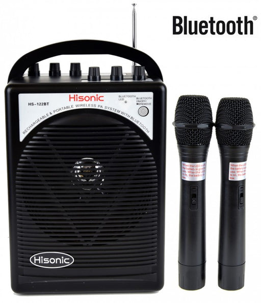 Hisonic Portable PA System-2-Channel Wireless Mics, Rechargeable, Bluetooth Streaming, 2 Belt Pack Mic Sets