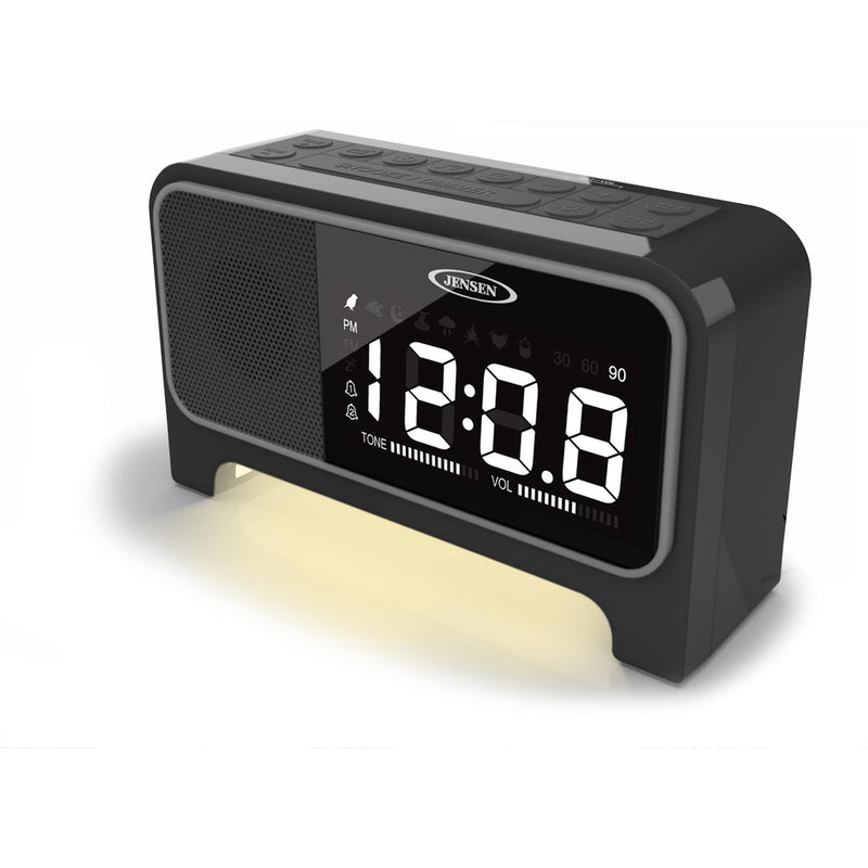 Digital Dual Alarm Soothing Sounds Clock Radio with Night Light