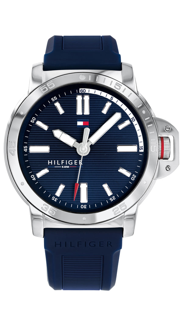 Tommy Hilfiger Gents, Stainless Steel Case, Navy Silicone Strap, Navy Dial