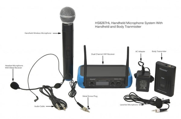 Hisonic Dual Channel Wireless Microphone System for Professional Use, 1 Handheld and 1 Body Pack Mic