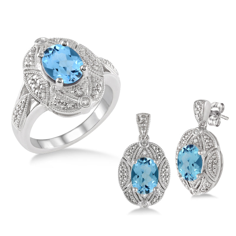 Blue Topaz & Diamond Earring and Ring Set