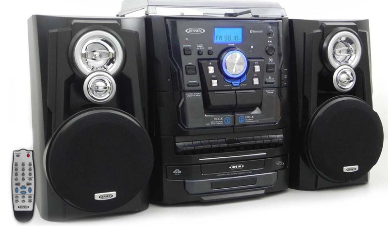 Bluetooth Stereo Turntable, 3 CD Changer, Dual Cassette