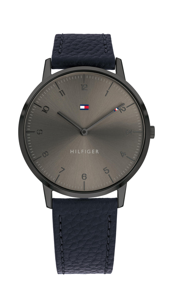 Tommy Hilfiger Gents, Gunmetal Case, Navy Leather Strap, Grey Sunray Dial