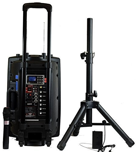 Hisonic Rechargeable PA System with Dual Wireless Mics with MP3 Player/Recorder, BT Connection and Tripod