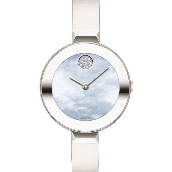 Movado Bold Ladies SS Case and Bracelet Blue Mother of Pearl Dial