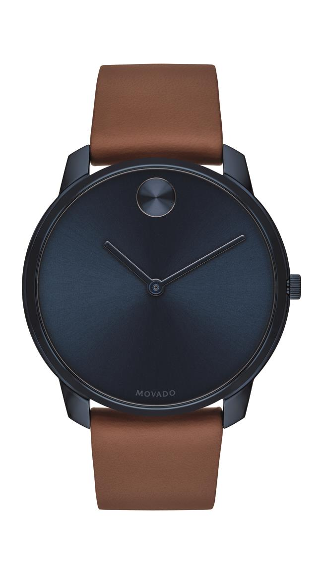 Movado Bold Gents, Blue Ion-Plated SS Case, Blue-Toned Dial, Brown Leather Strap