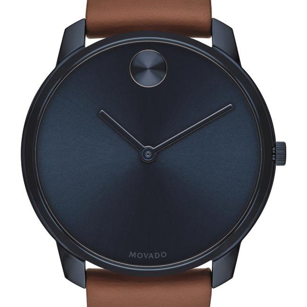 Movado Bold Gents. Blue Ion-Plated SS Case. Blue-Toned Dial. Brown Leather Strap.