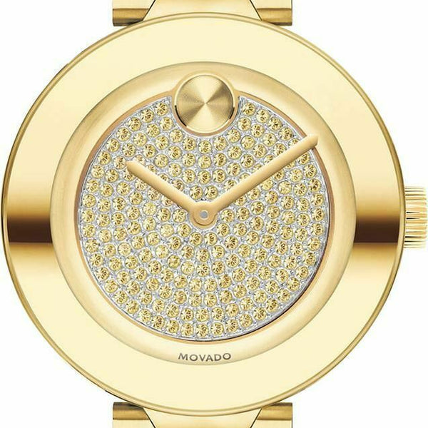 Movado Bold Ladies. Pale Gold Ion-Plated SS Case & Bracelet. Pale Gold Tone Dial.