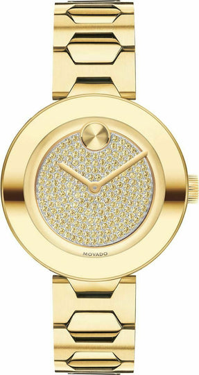 Movado Bold Ladies, Pale Gold Ion-Plated SS Case & Bracelet, Pale Gold Tone Dial