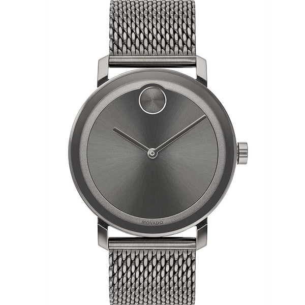 Movado Bold Gents. Grey IP Case &  Mesh Bracelet. Grey Sunray Dial.