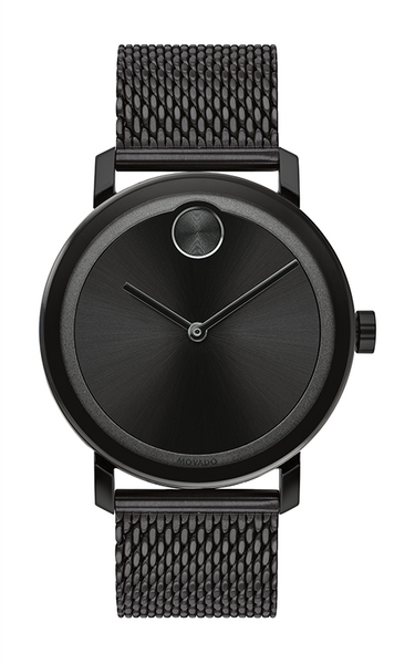 Movado Bold Gents. Black IP Case &  Mesh Bracelet. Black Sunray Dial.