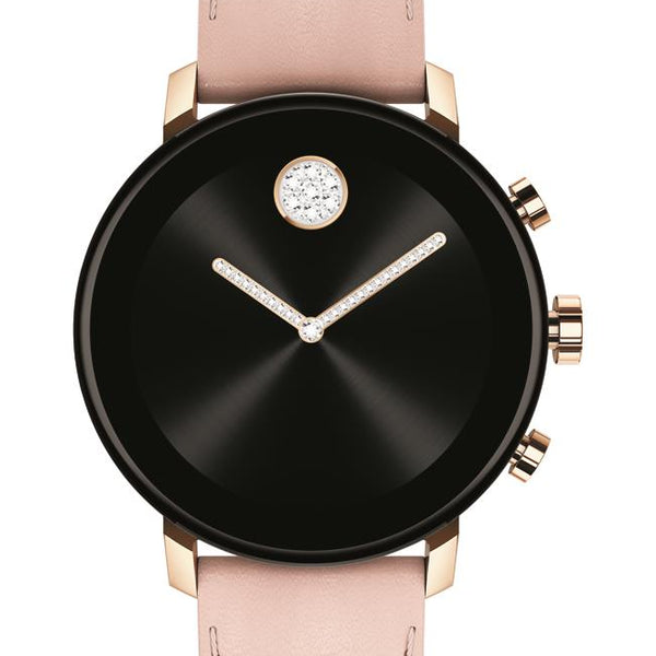 Movado Connect 2.0 Smartwatch, Unisex. Pale Rose Gold IP Case, Blush leather strap.
