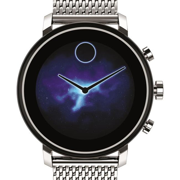 Movado Connect 2.0 Smartwatch, Unisex. Stainless Steel Case and Mesh Bracelet.