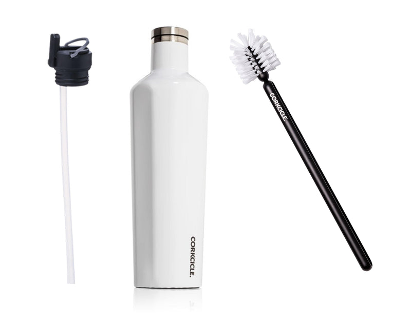 25oz Canteen w/Bottle Brush & Canteen Cap w/Straw - Gloss White