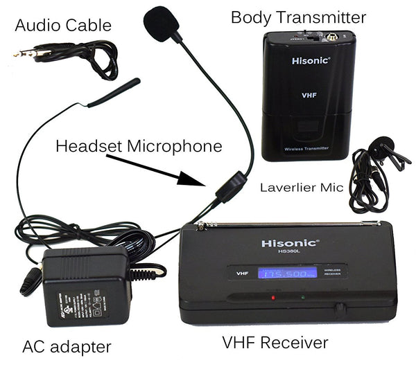 Hisonic VHF Wireless Lavaliere Microphone with Long Range, Battery or AC, One Channel Fixed Frequency