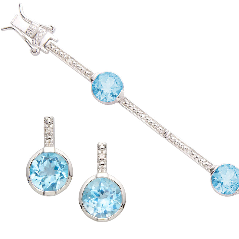 Blue Topaz Bracelet & Earring Set
