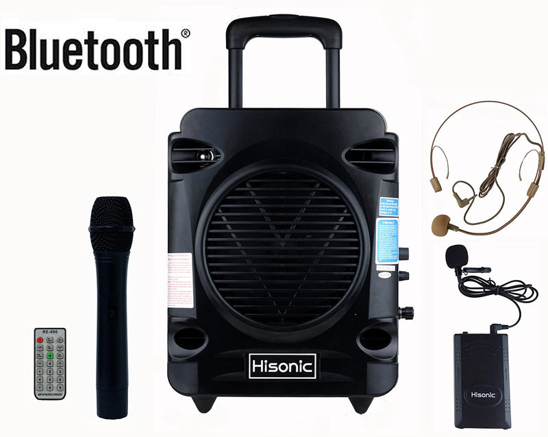 Hisonic Rechargeable Portable PA System-VHF Wireless Mics, BT, Music Player/Recorder, FM Radio, Remote