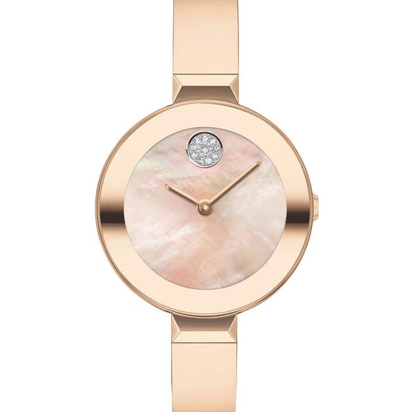 Movado Bold Ladies SS Case. IP Carnation Gold Steel Bracelet. Carnation Gold Mother of Pearl Dial