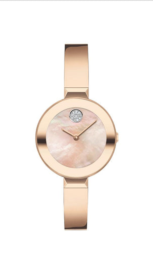 Movado Bold Ladies SS Case, IP Carnation Gold Steel Bracelet, Carnation Gold Mother of Pearl Dial