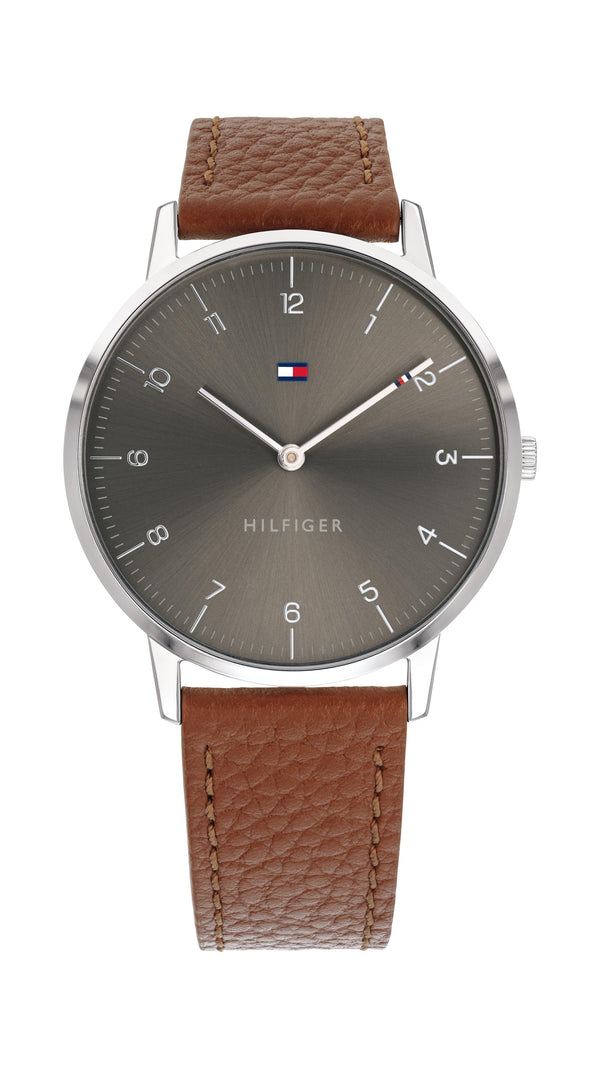 Tommy Hilfiger Gents, Stainless Steel Case, Light Brown Leather Strap, Grey Sunray Dial