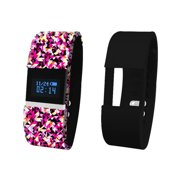 iTouch Wearables Bluetooth¨ Interchangeable Strap Fitness Tracker - (Multi Pink and Black)