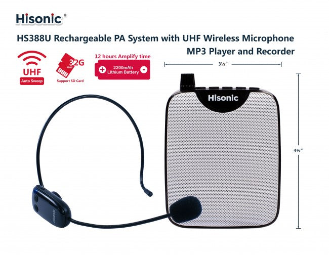 Hisonic Waistband 3-in-1 Mini Voice Amplifier, UHF Wireless Headset Mic, Digital Voice Recorder