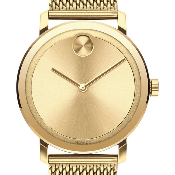 Movado Bold Gents. Pale Yellow Gold Plated SS Case & Mesh Bracelet. Gold Sunray Dial.