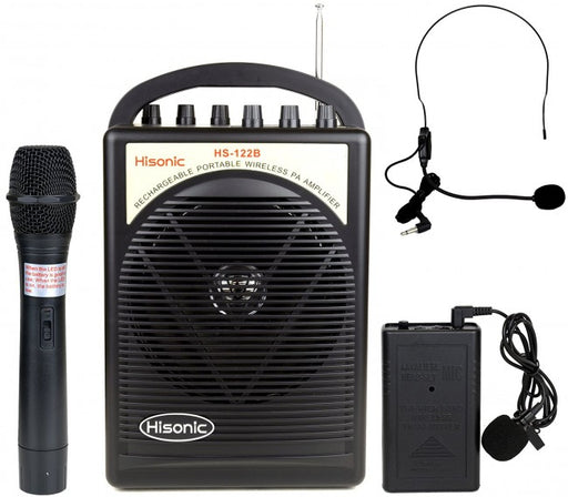 Hisonic 40 Watts Rechargeable Portable PA System with Built-in Dual Channel, Wireless, Headset & Lapel Mics