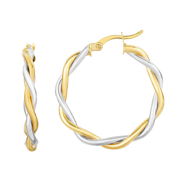 Two Tone Twisted Hoops