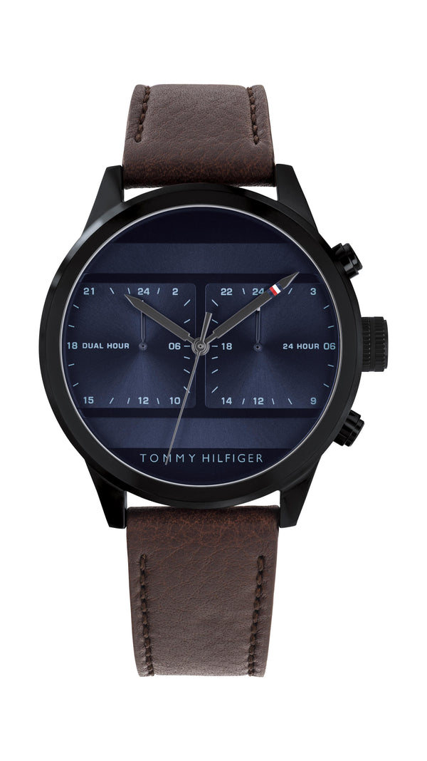 Tommy Hilfiger Gents, Black IP Case, Dark Brown Leather Strap, Navy Sunray Dial
