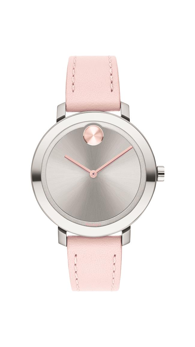 Movado BOLD Ladies, SS Case with a Blush Leather Strap and a Silver-Toned Dial