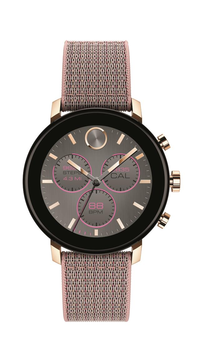 Movado Connect 2.0 Smartwatch, Unisex, Carnation Gold IP Case, Pink Sand Fabric Strap