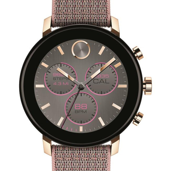 Movado Connect 2.0 Smartwatch, Unisex. Carnation Gold IP Case, Pink Sand Fabric strap.