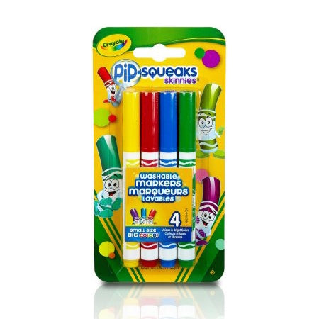 Crayola 4 ct. Fine Line Washable Pip-Squeaks Markers with clip strip.
