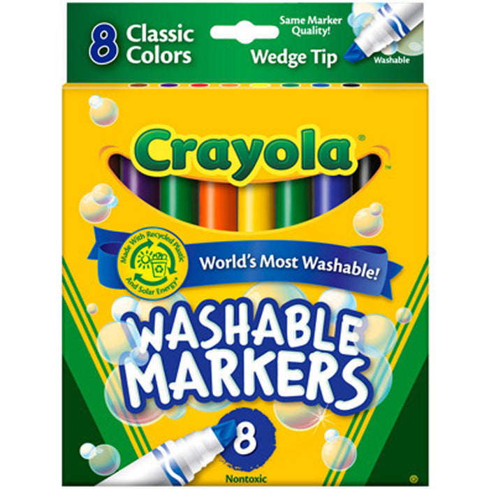 Crayola 8 ct. Ultra-Clean Washable, Wedge tip, Color Max Markers.