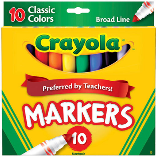 Crayola 10 ct. Classic, Broad Line, ColorMax Markers.